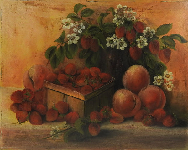 Strawberries & Peaches Still Life Painting