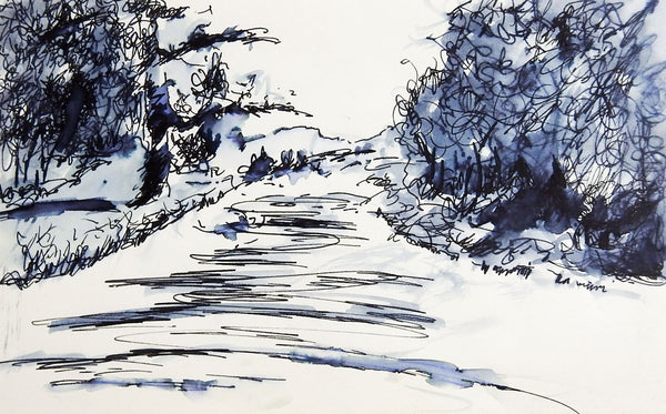 Country Lane Pen & Ink Drawing Study