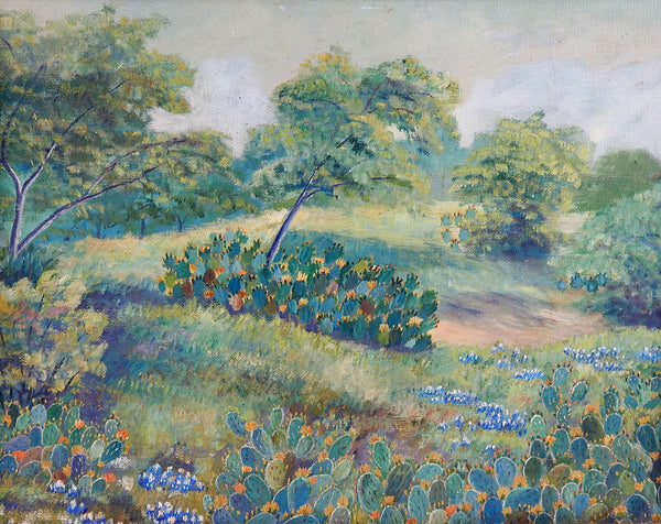 Vintage Texas Bluebonnets Circa 1940's Oil Painting