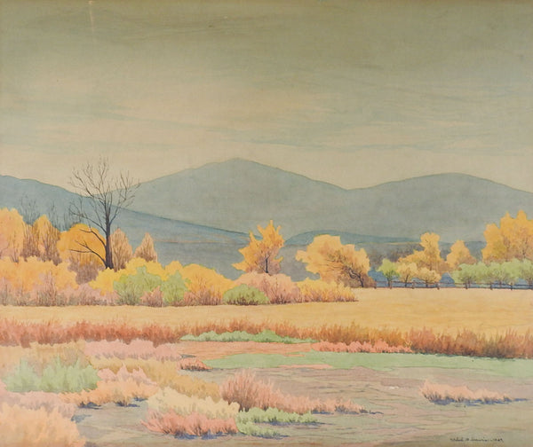 1929 California Fall Farm Landscape Watercolor Painting by Ethel Davis
