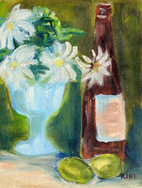 Wine, Limes & Daisies Still Life Painting