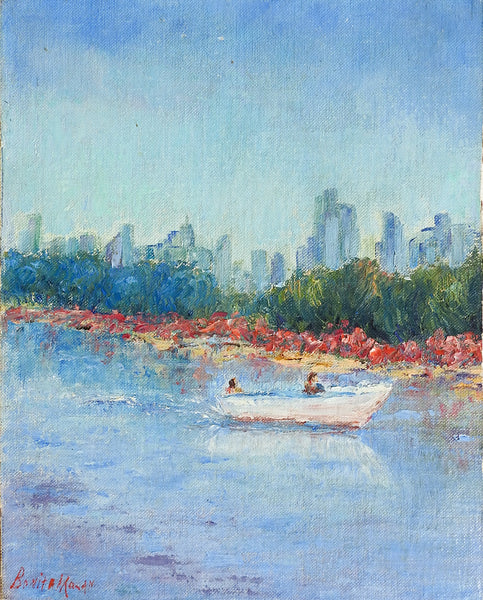Impressionist Waterfront & City Skyline Painting