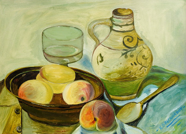 Mid Century Rustic Still Life Painting With Peaches