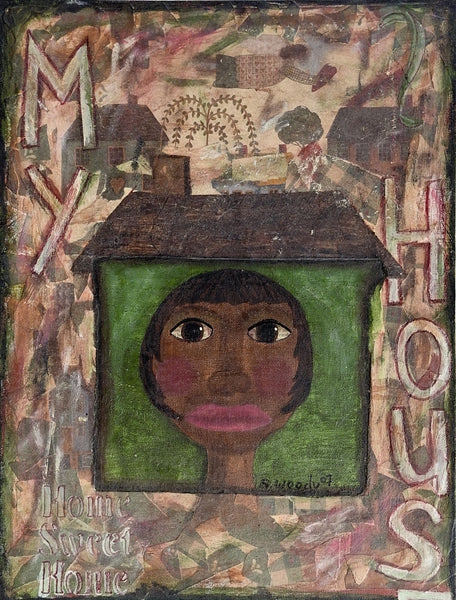 Folk Art Home Sweet Home Mixed Media Painting