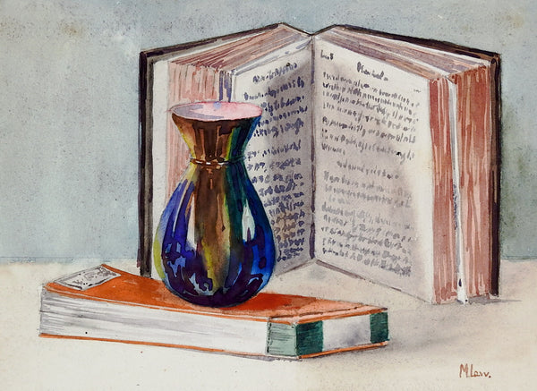 1930s Still Life of Vase & Books Watercolor Painting