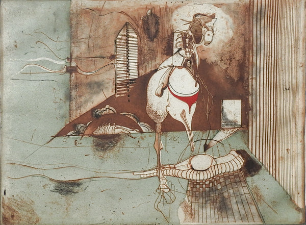 Mid Century Abstract Horse Color Etching by Tony Bass