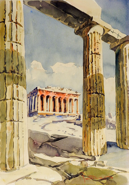 Greek Ruins Watercolor Painting