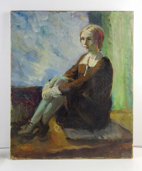 Portrait Painting of Pensive Woman Circa 1920's