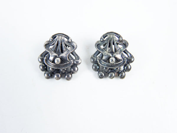 Schiaparelli Silver Clip On Earrings