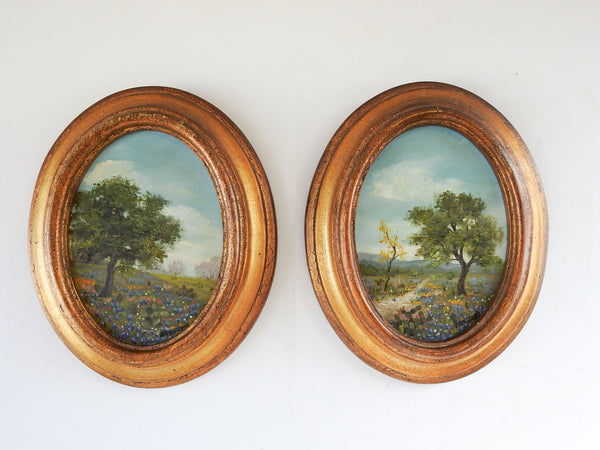 Vintage Bluebonnet Landscape Oval Paintings - a Pair