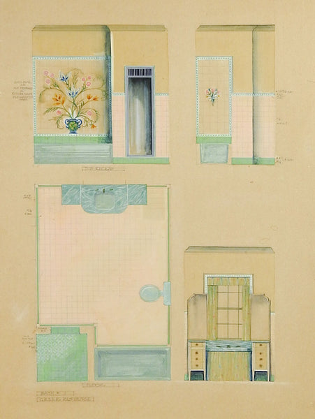 1920's Architectural Rendering For Bathroom Painting