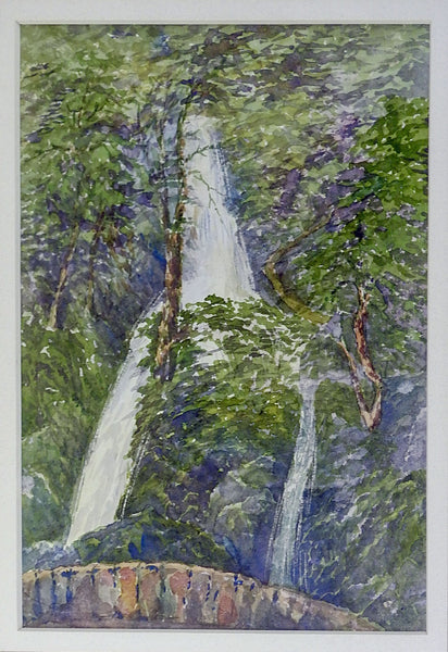 English Waterfall Watercolor Painting