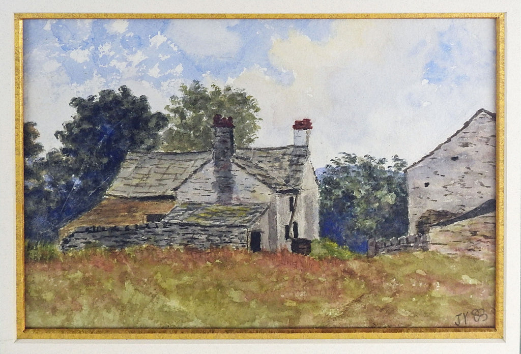 English Stone Farm House Watercolor Painting