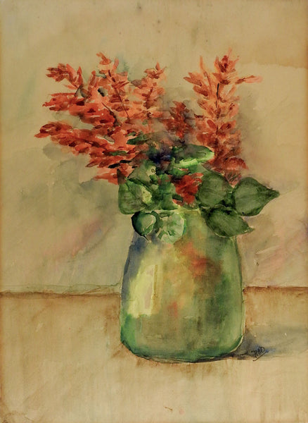 Red Flowers In Blue Vase Still Life Watercolor Painting