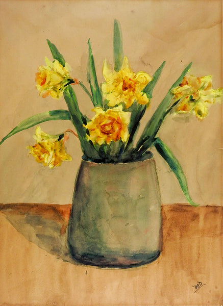 Daffodils In Blue Vase Still Life Watercolor Painting