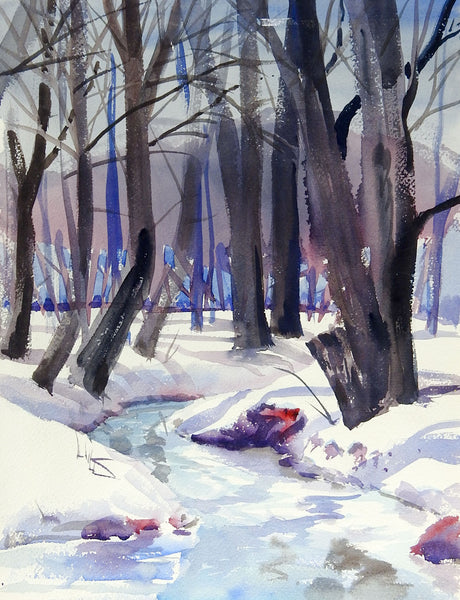 Winter Forest Watercolor Painting