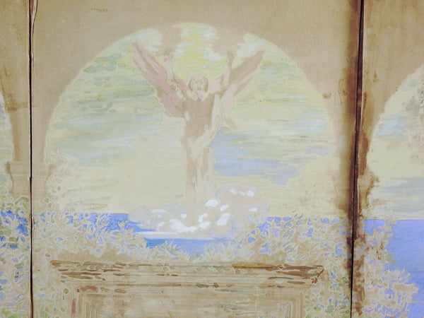 Distressed 1880's Neoclassical Mural Study Painting