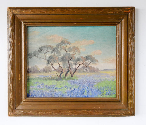 1938 Bluebonnet Landscape Painting By Peggy McMahan