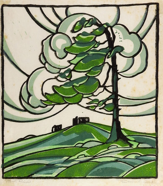 Woodblock Print Landscape In Green