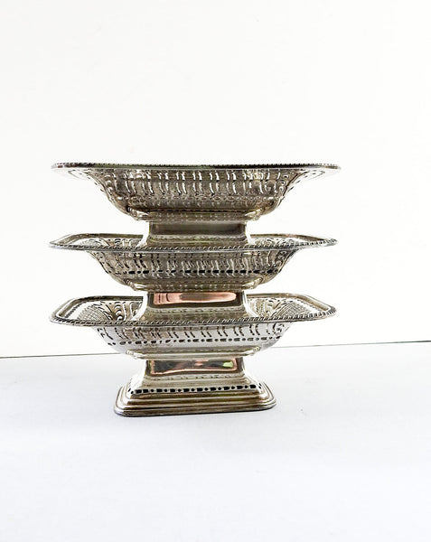 Ellis Barker Vintage Silverplate Dishes - Set of 3