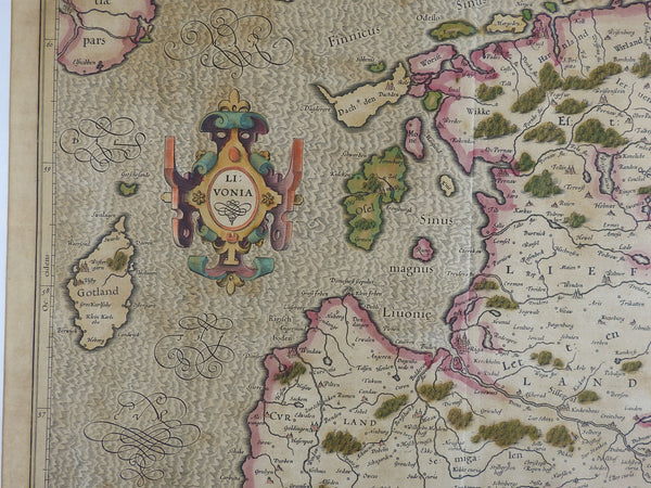 Circa 1620 Map of Livonia Baltic States