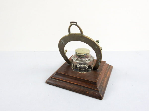Antique Brass Horseshoe Inkwell