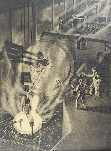 1940's WPA Industrial Drawing