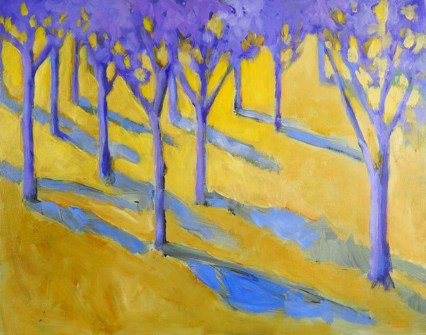 Purple & Yellow Landscape Painting