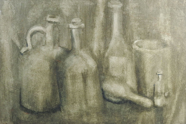 Monochromatic Still Life With Bottles Painting