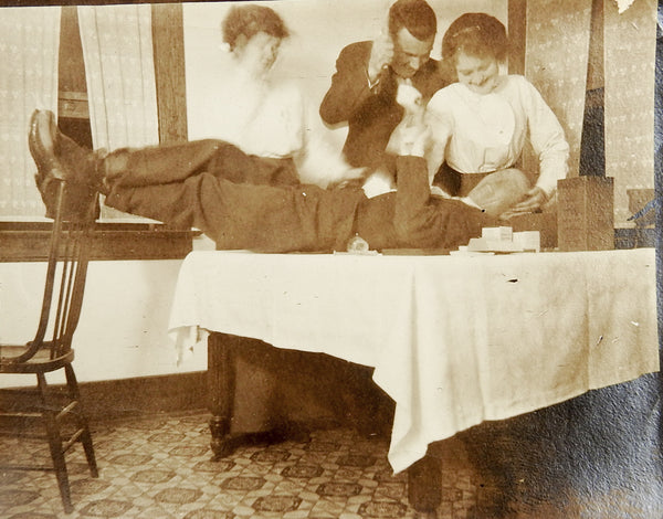 Vintage c. 1910 Snapshot Playing Doctor Murder Surgery Silly Young Men Women