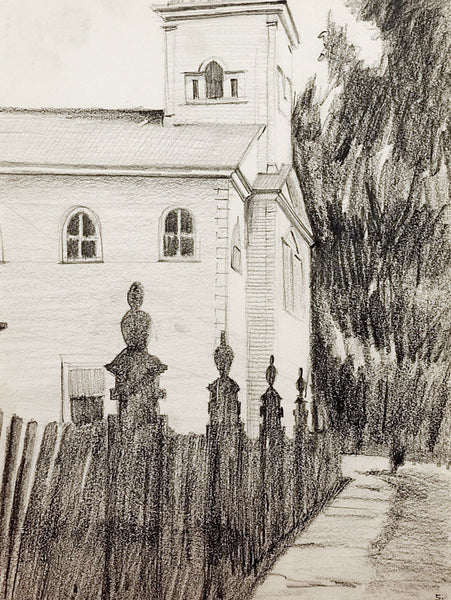 Old Country Church Drawing