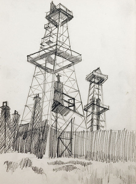 Oil Field & Derricks Drawing