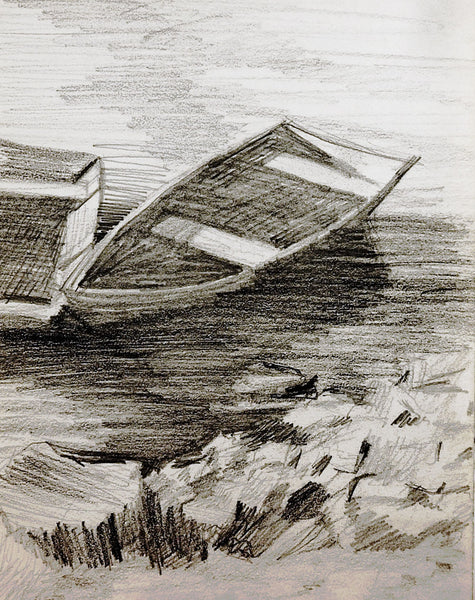 Boats At Lakeside Drawing