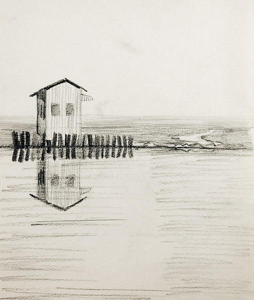 Riverside Fishing Shack Drawing