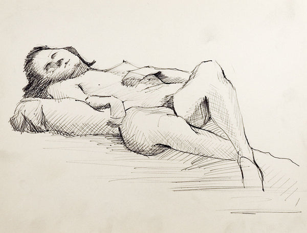 Reclining Nude Figure Drawing