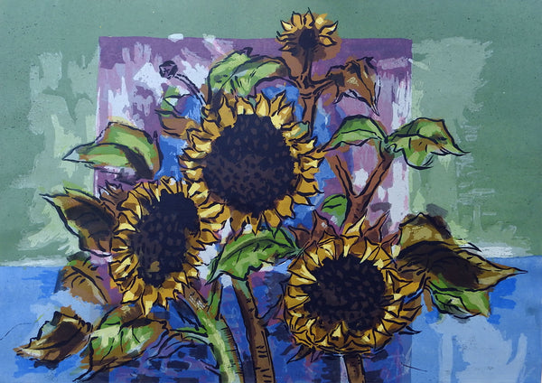 Sunflowers Serigraph Print By Guy Maccoy