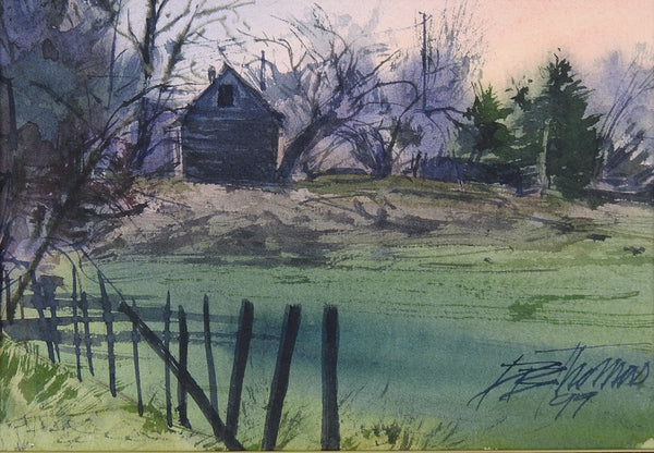 Pastoral Sunrise Watercolor