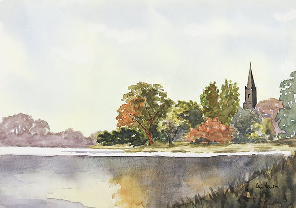 Lakeside Landscape Watercolor Painting