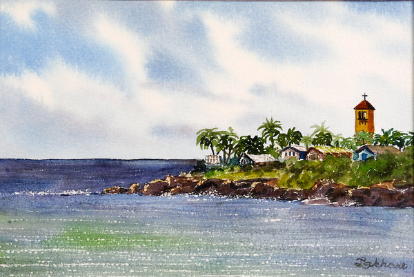 Waimea Bay, Haleiwa, Hawaii Watercolor Painting