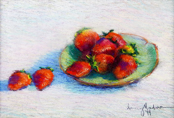 Strawberry Still Life Pastel Drawing