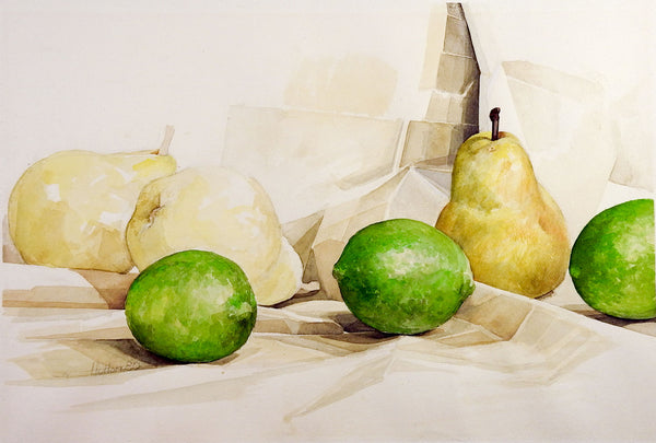 Limes & Pears Still Life Watercolor Painting
