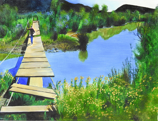 Old Foot Bridge Crossing Painting