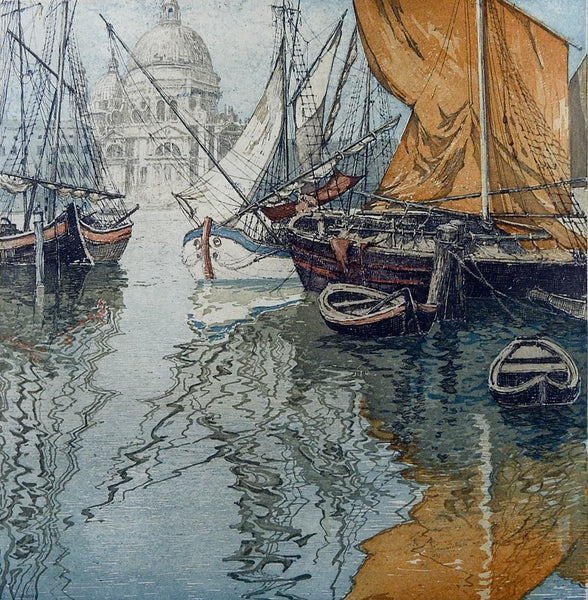 Venice Sailboats Vintage Etching By Eidenberger