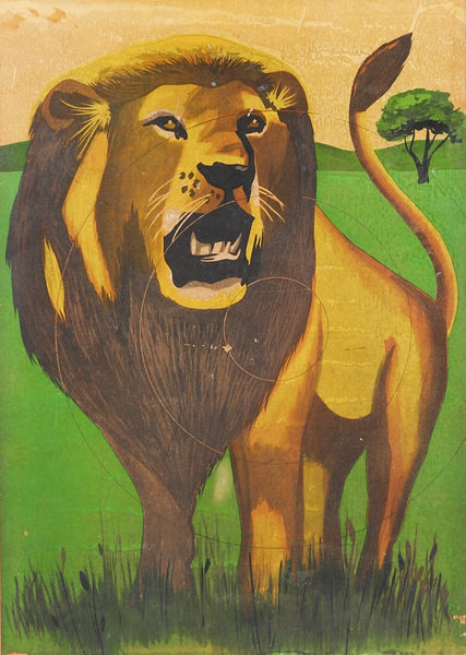 Vintage Lion Print On Board