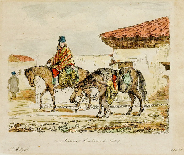French Etching Merchants On Horseback