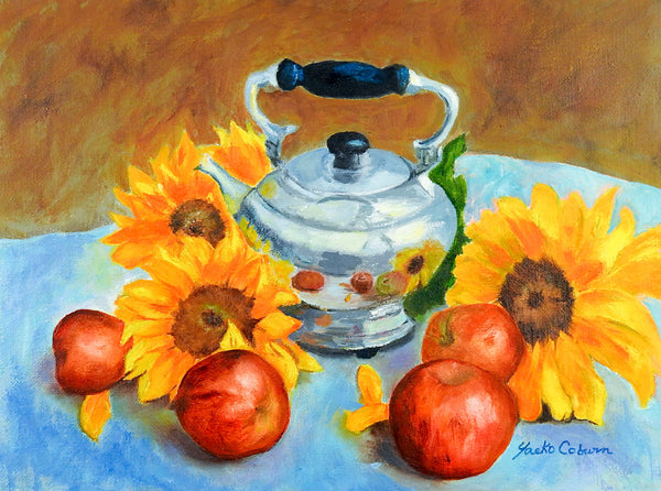 Apples & Sunflowers Still Life Painting