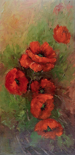 Red Poppies by Vivian Love Painting
