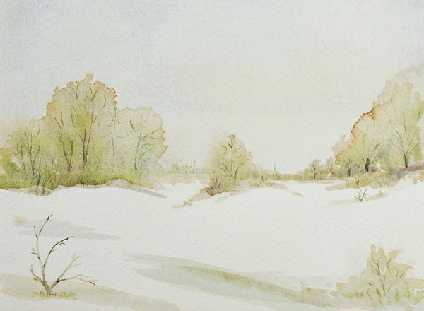 Pale Winter Landscape Watercolor Painting
