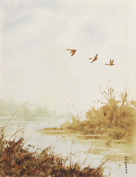 River & Geese Watercolor Painting