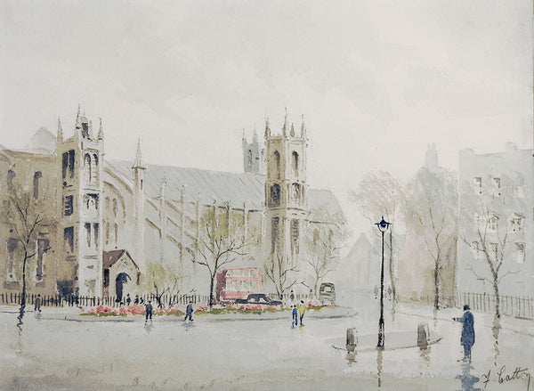 English Cathedral Watercolor Painting